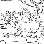 Malvorlage Schaf und Schmetterling | Tiere