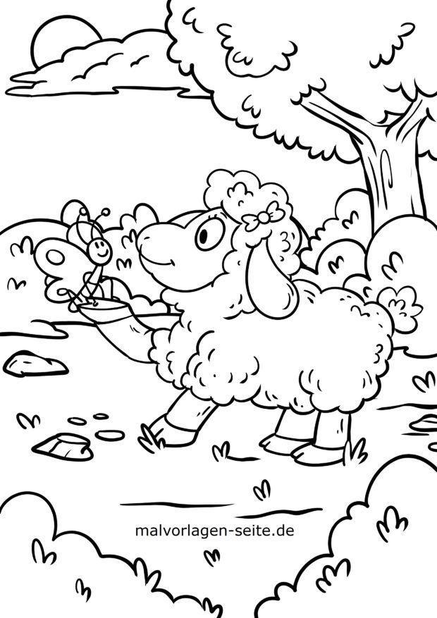 Malvorlage Schaf und Schmetterling