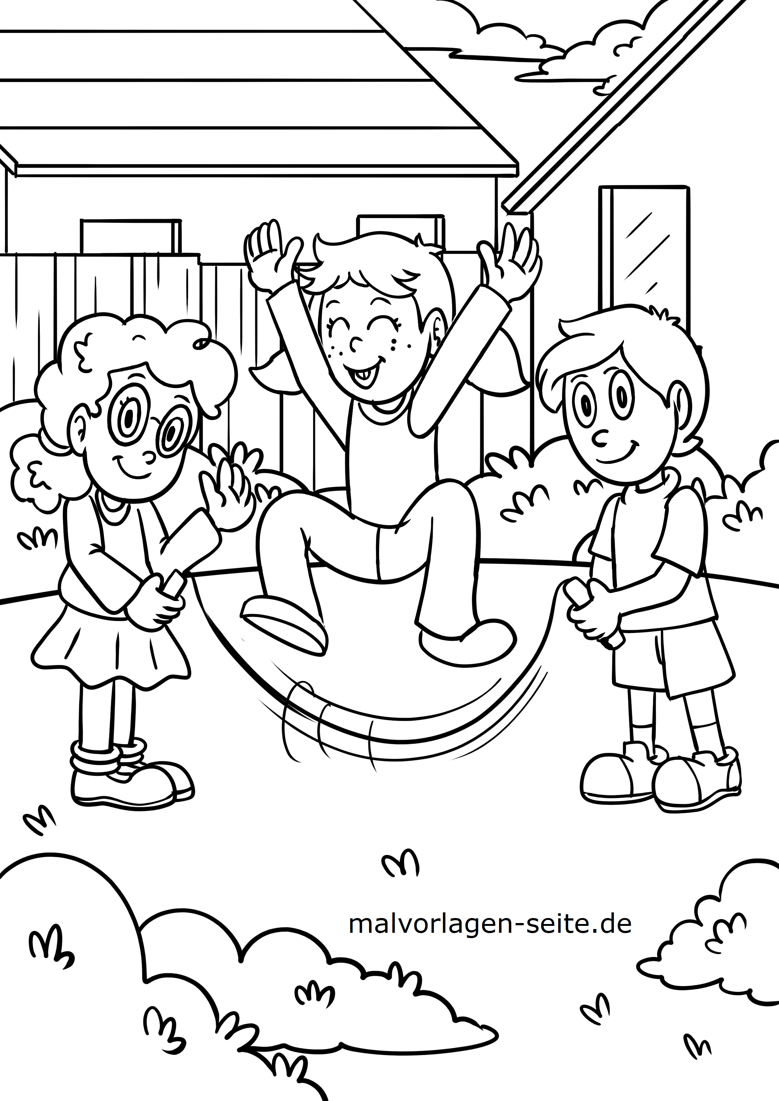 Malvorlage Kinder Seilspringen Spielen