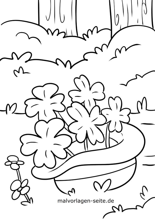 Coloring page St. Patrick's Day shamrocks