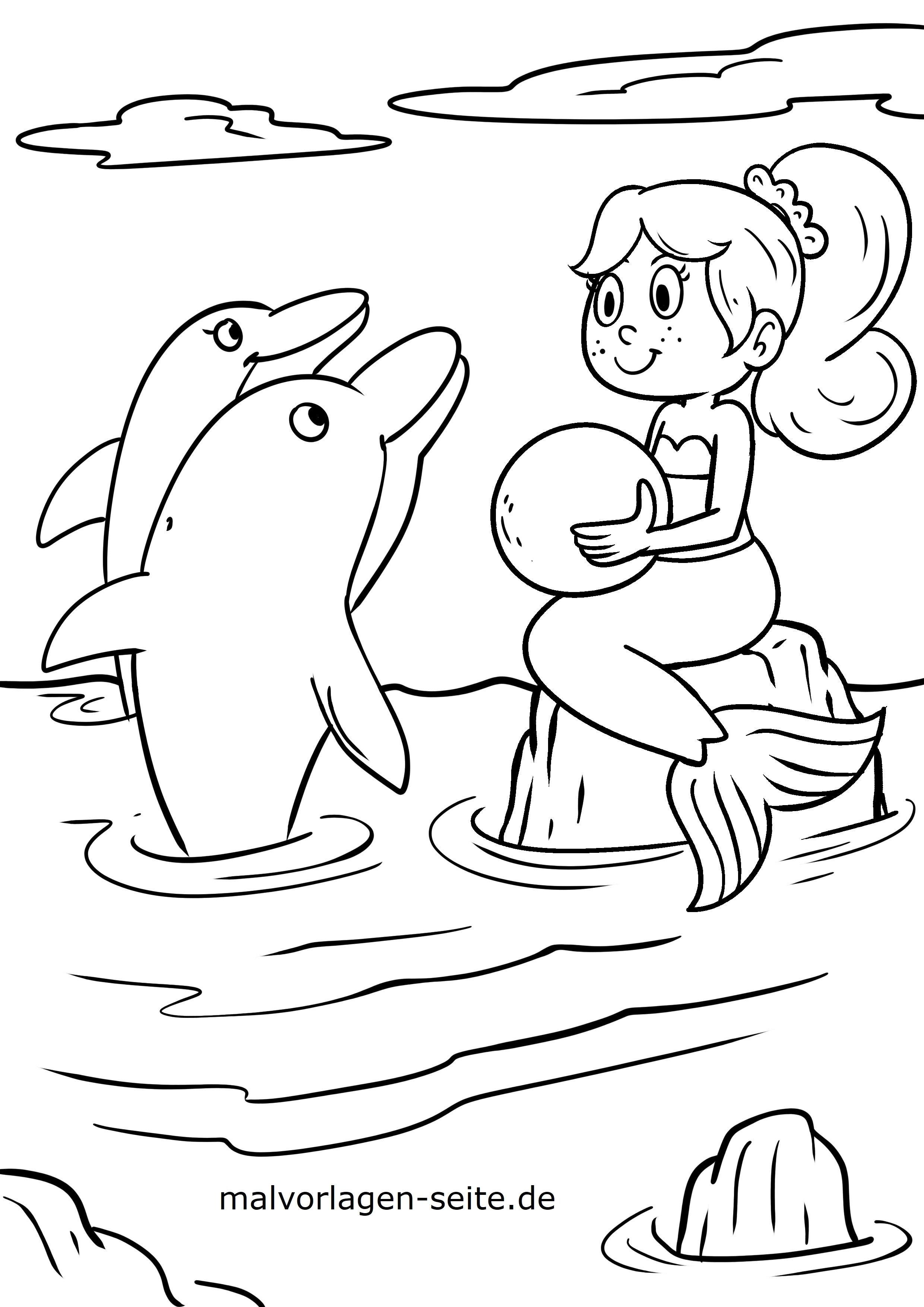 33 ausmalbilder meerjungfrau mit delfin  besten bilder