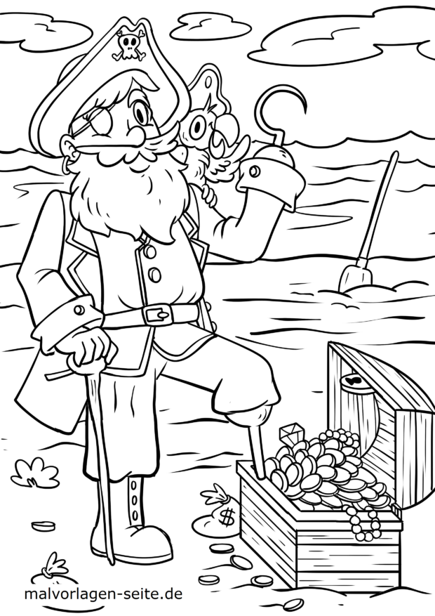 Coloring page pirate with pirate treasure