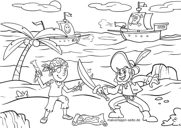 Malvorlage Piraten kämpfen