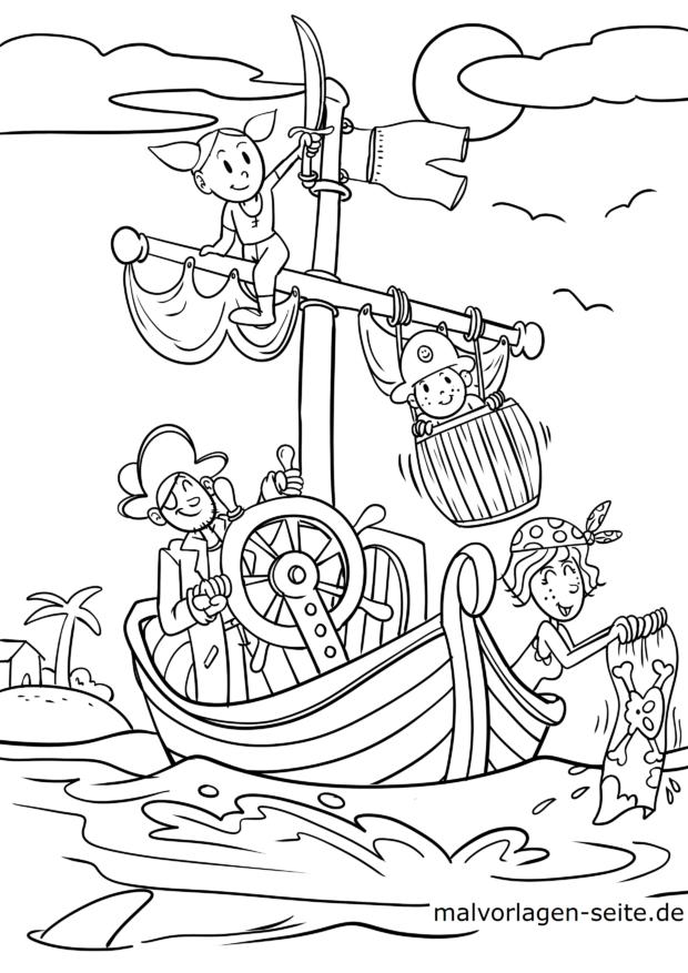 Malvorlage Piratenfamilie