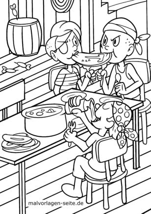 Malvorlage Piraten essen zum Ausmalen für Kinder
