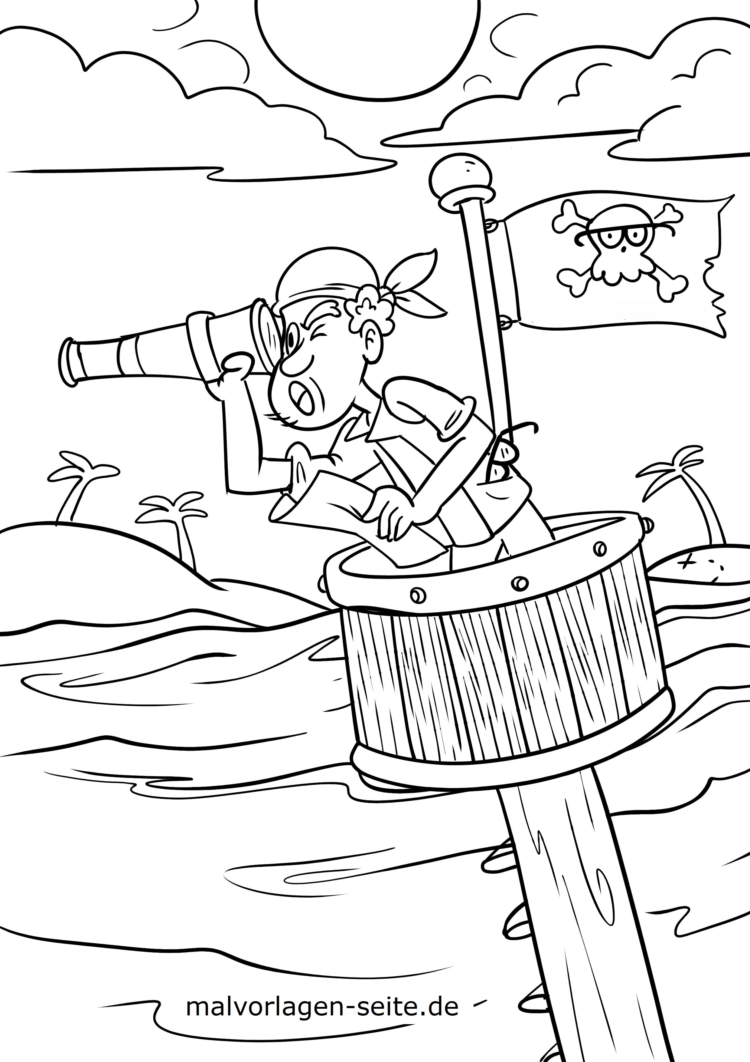malvorlage pirat / piraten - kostenlose ausmalbilder