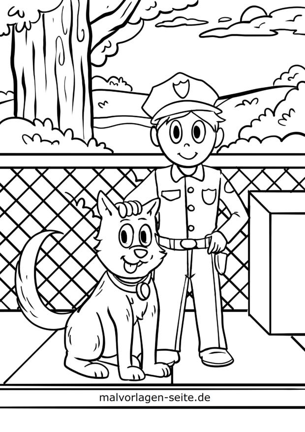 Bojanje stranice policija s policijskim psom