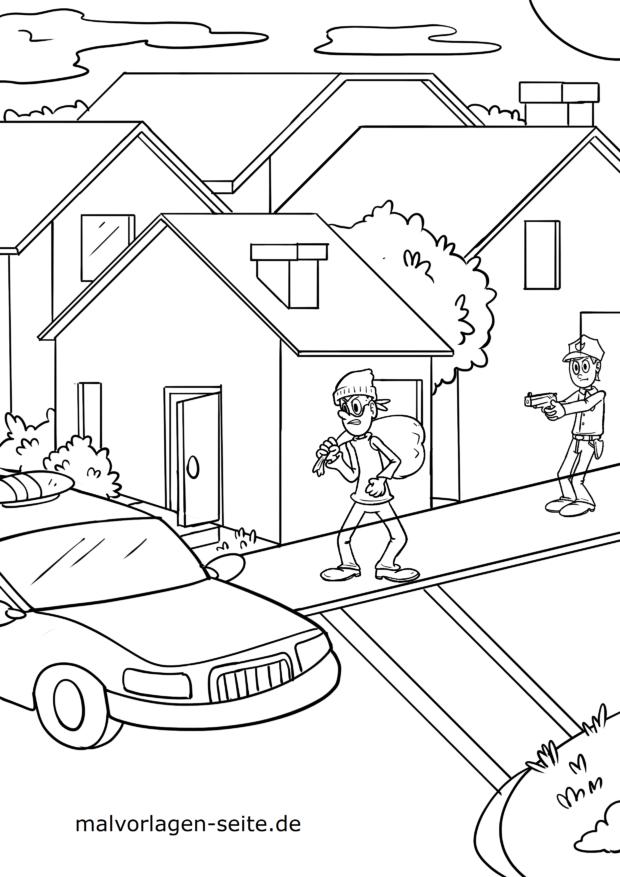 Malvorlage Polizei und Einbrecher