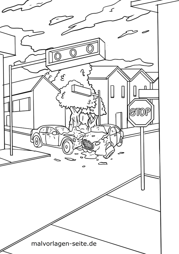 Coloring page police car accident