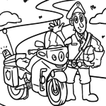 Coloring page police motorcycle for coloring for children