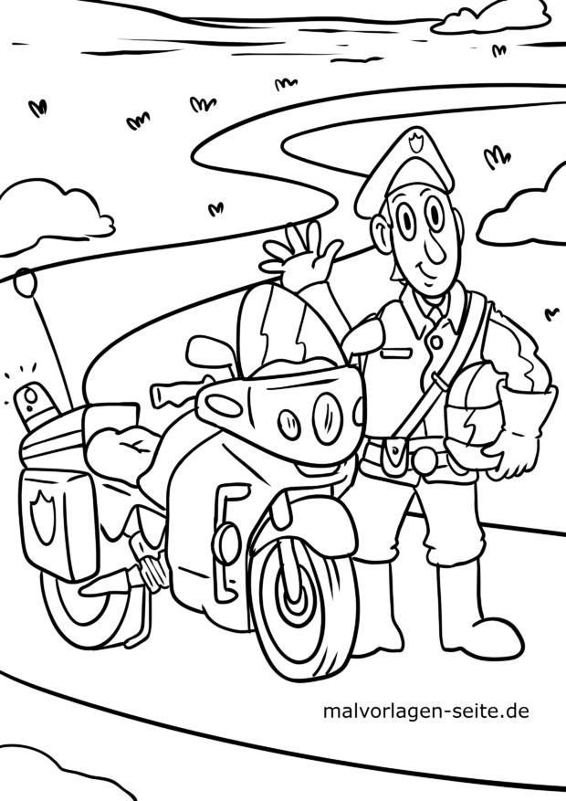 Malvorlage Polizei Motorrad