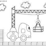 Malvorlage kleine Kinder - Baustelle