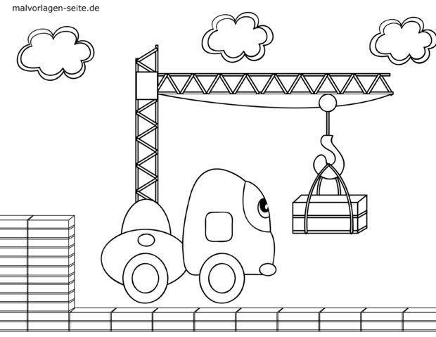 Malvorlage für kleine Kinder - Baustelle