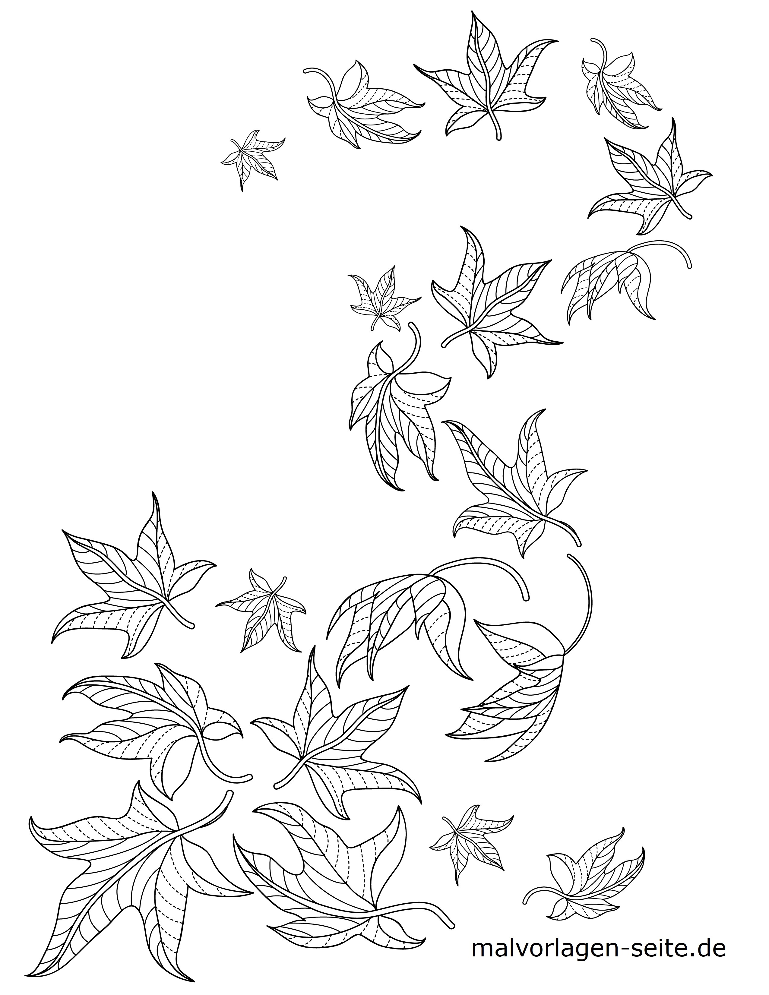 Malvorlage Blätter / Laub  Herbst - Kostenlose Ausmalbilder