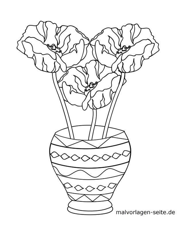 Farvelægning blomster i en vase