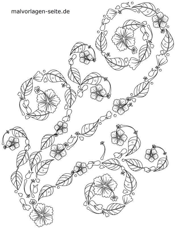 דף צביעה זר פרחים