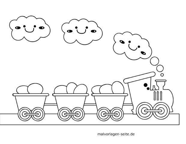 Malvorlage für kleine Kinder - Eisenbahn