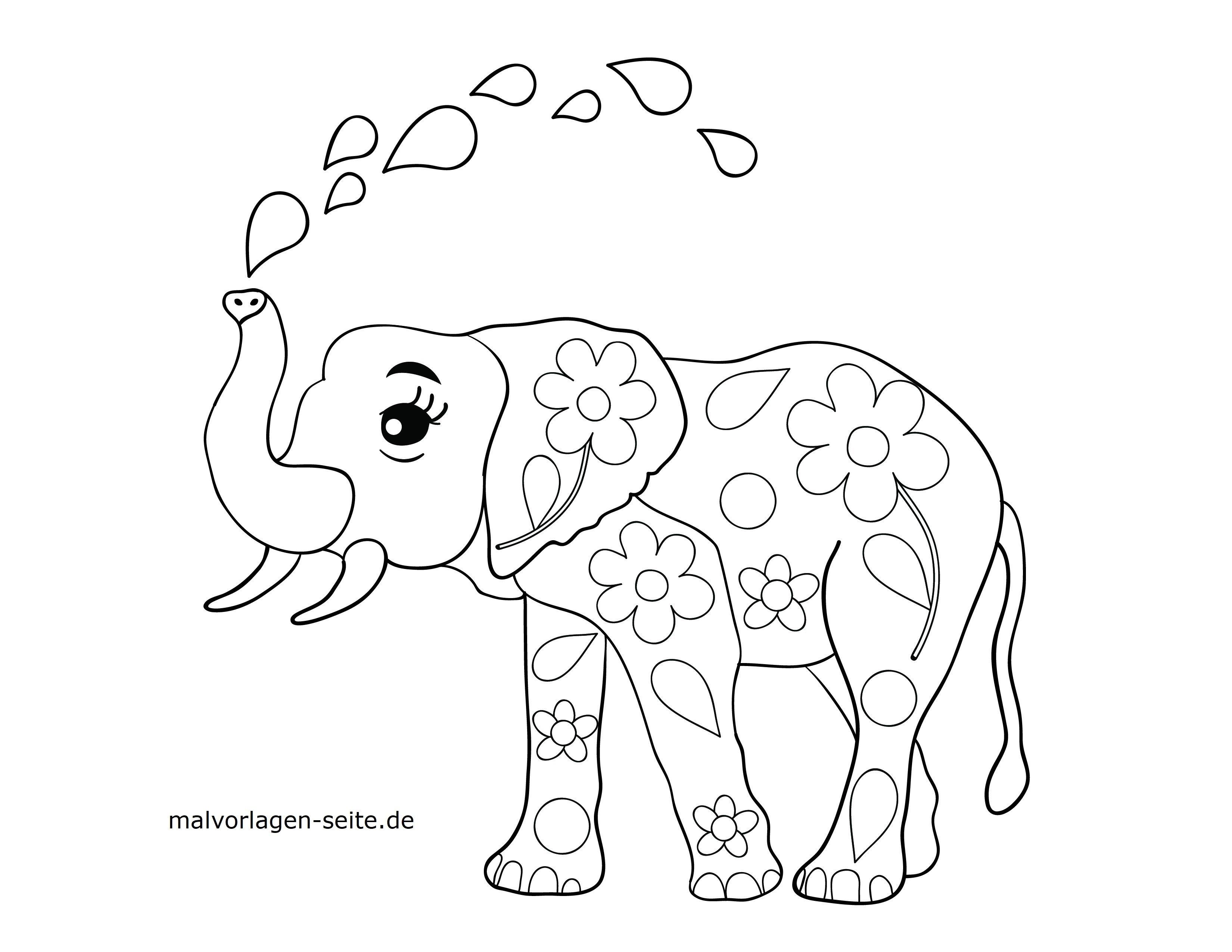 Malvorlage Elefant  Tiere - Kostenlose Ausmalbilder