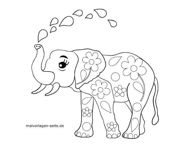 Elephant Coloring Page - Super Simple | 479x620