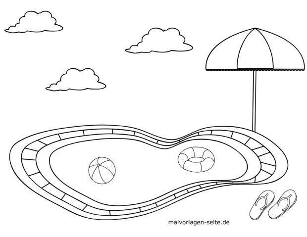 Malvorlage für kleine Kinder - Freibad