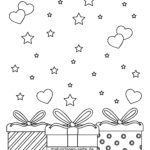 Coloring page little kids - gifts