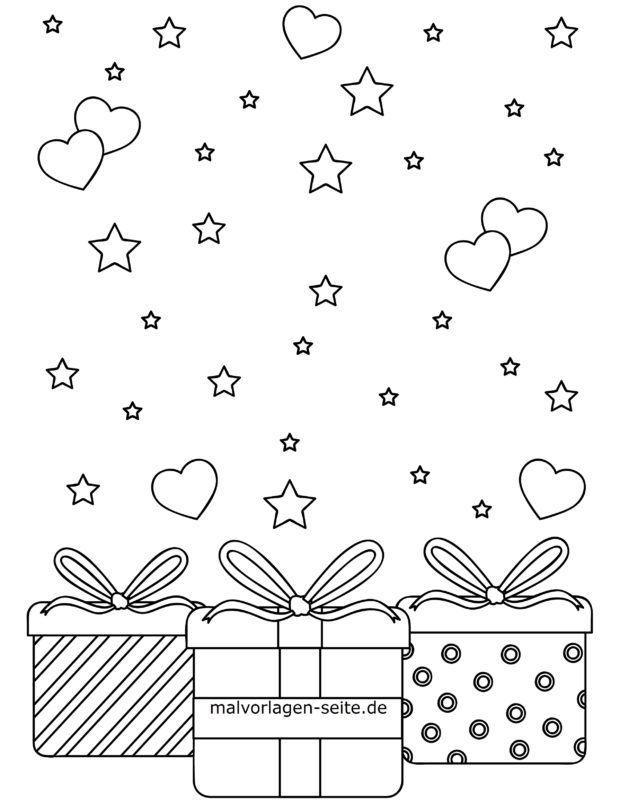 Malvorlage für kleine Kinder - Geschenke