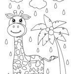 Coloring page little kids - giraffe