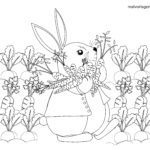 Coloring page little kids - bunny with carrots