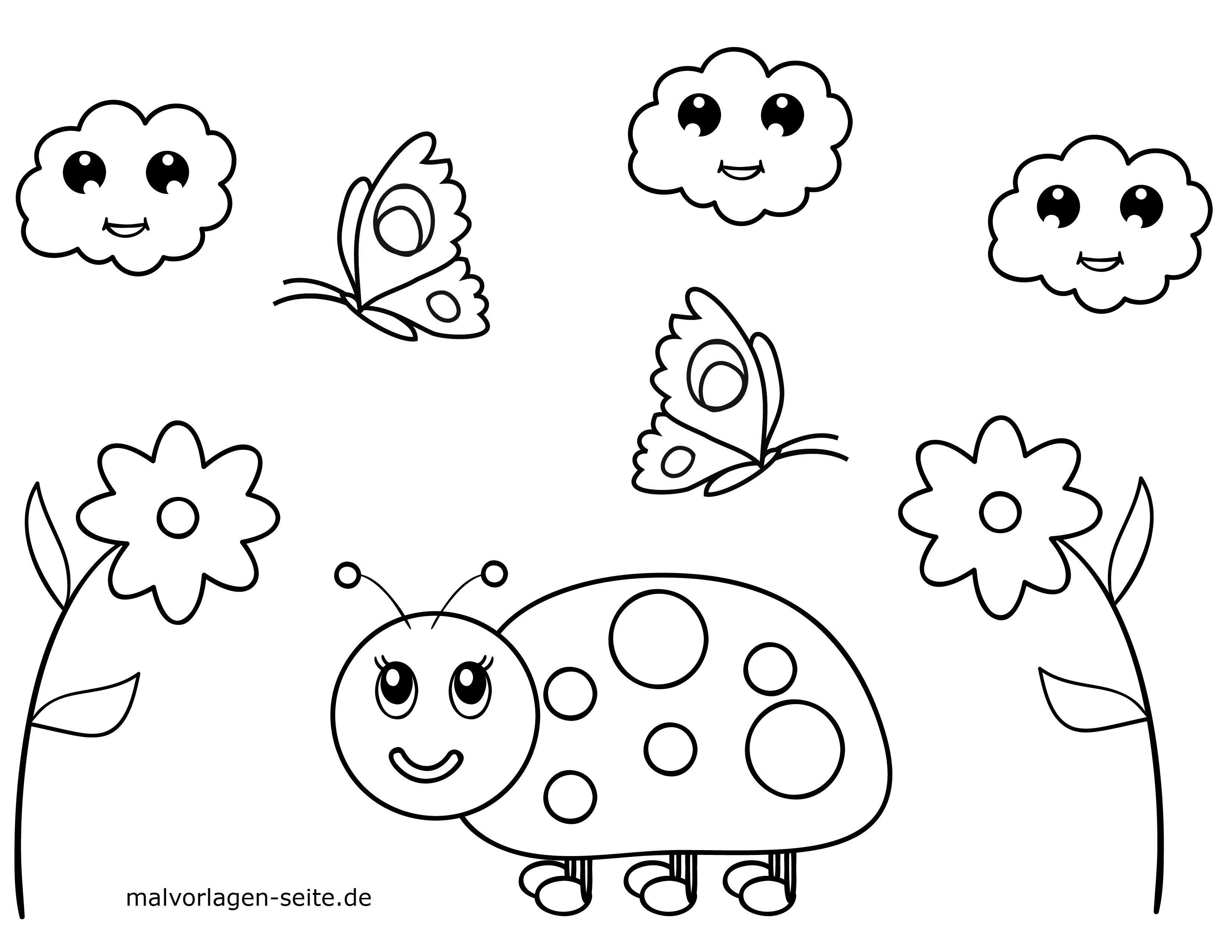 Malvorlagen Kleine Kinder Käfer Und Blumen