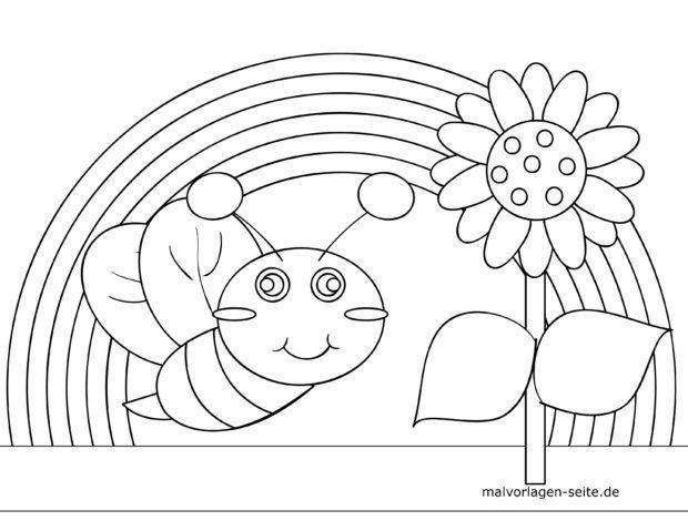 Malvorlage für kleine Kinder - Käfer mit Regenbogen