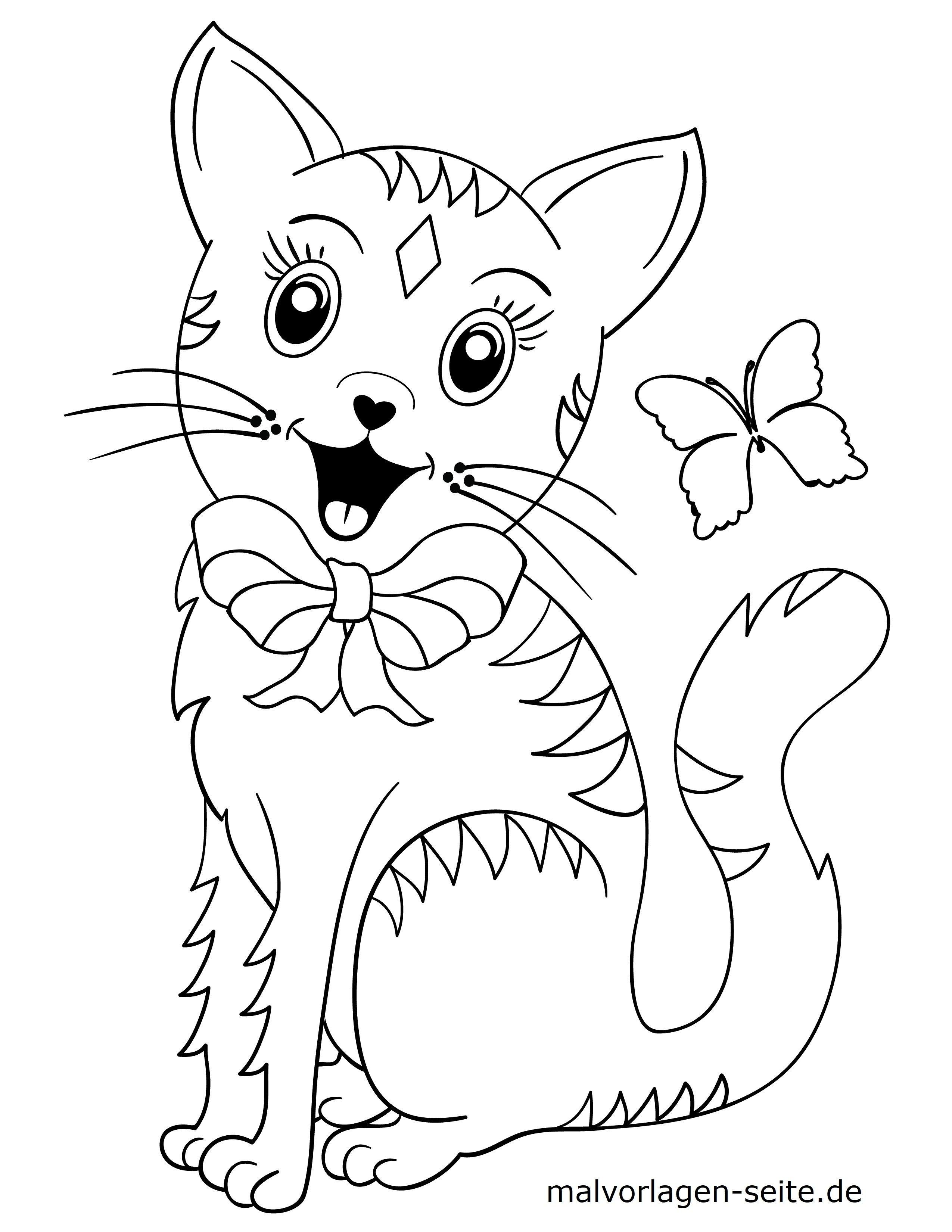 Malvorlage kleine Kinder - Katze - Kostenlose Ausmalbilder