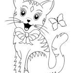 Coloring page little kids - cat