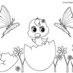 Coloring page little kids - chicks
