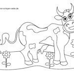 Coloring page little kids - cow