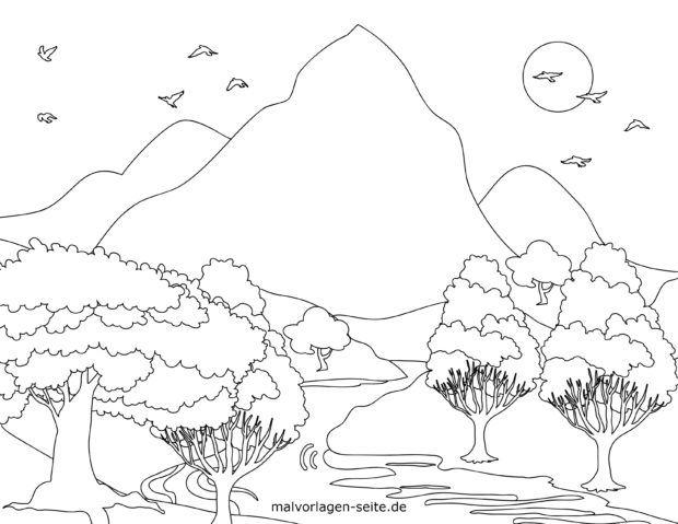 Coloring page landscape with mountains and river