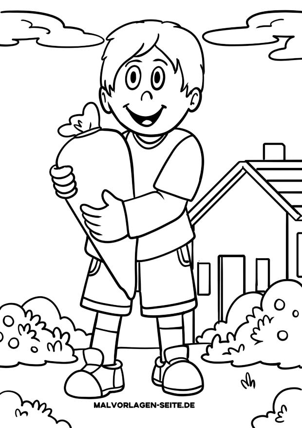 Malvorlage Schule - erster Schultag