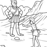 Coloring page Religion - David vs. Goliath