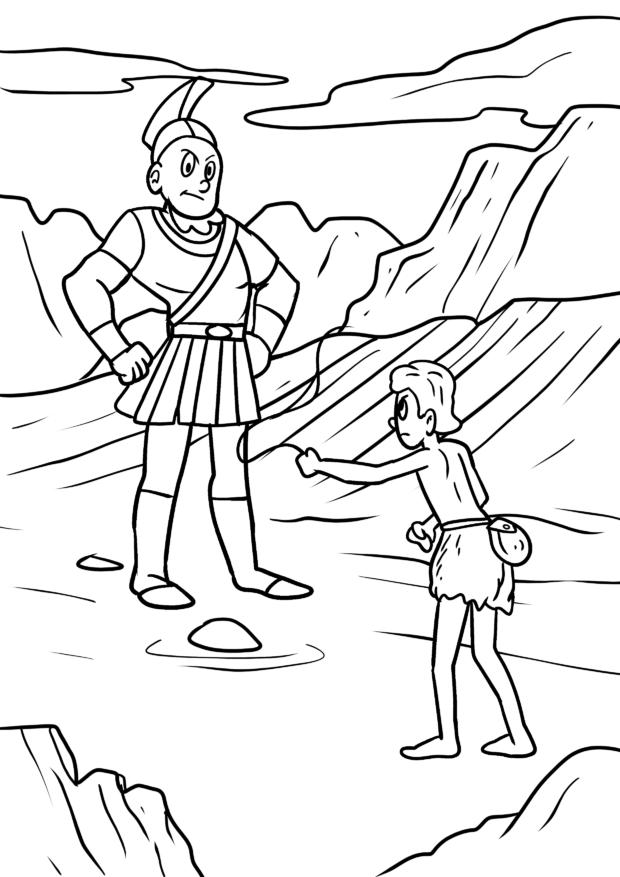 Malvorlage David gegen Goliath