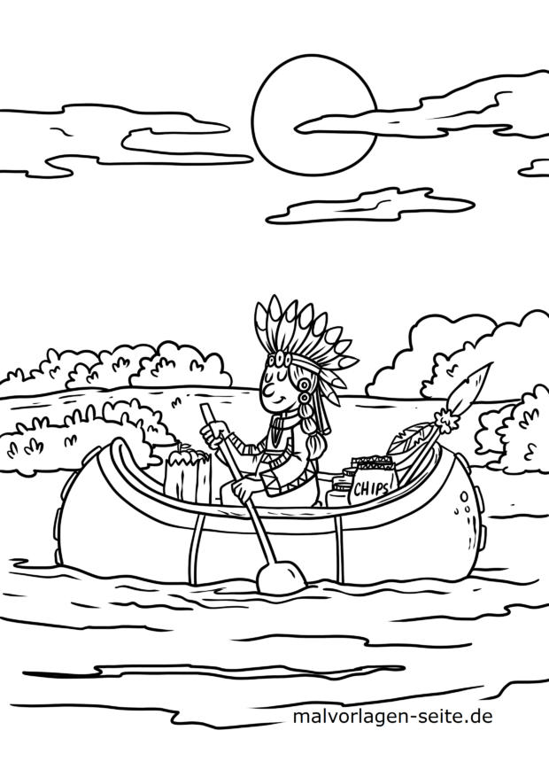 Malvorlage Indianer im Kanu