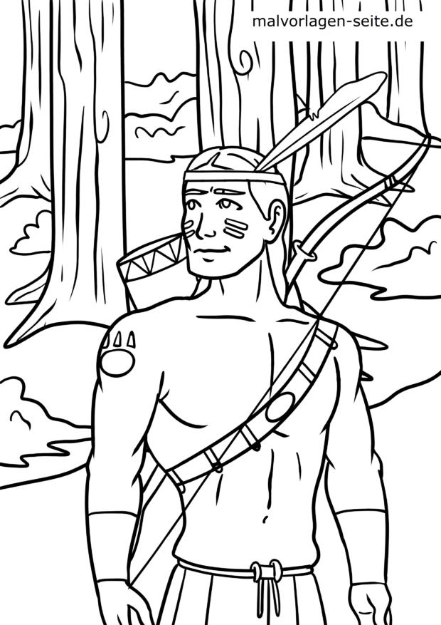 Malvorlage Indianer Krieger