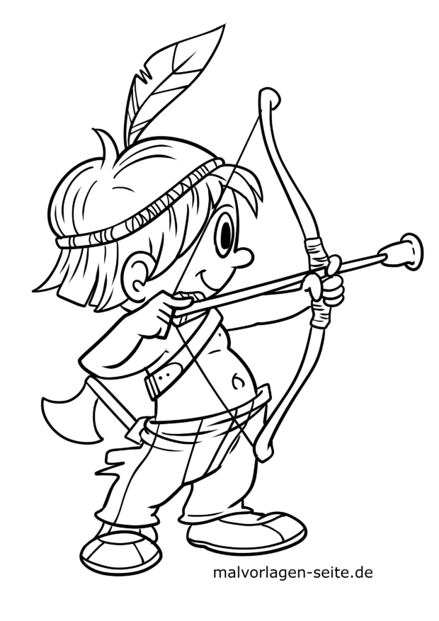 Coloring page Indian boy with bow and arrow