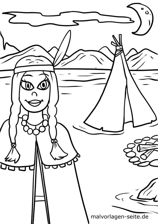 Coloring page Indian woman in front of tepee