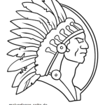 Coloring American Indian with headdresses picture | Indian drawing ... | 150x150
