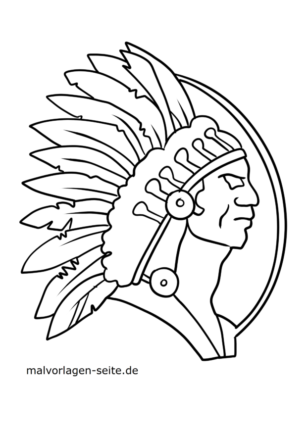 Coloring page Indian with feather ornaments