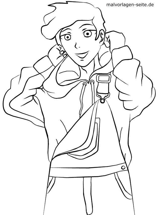 Malvorlage Manga - Junge