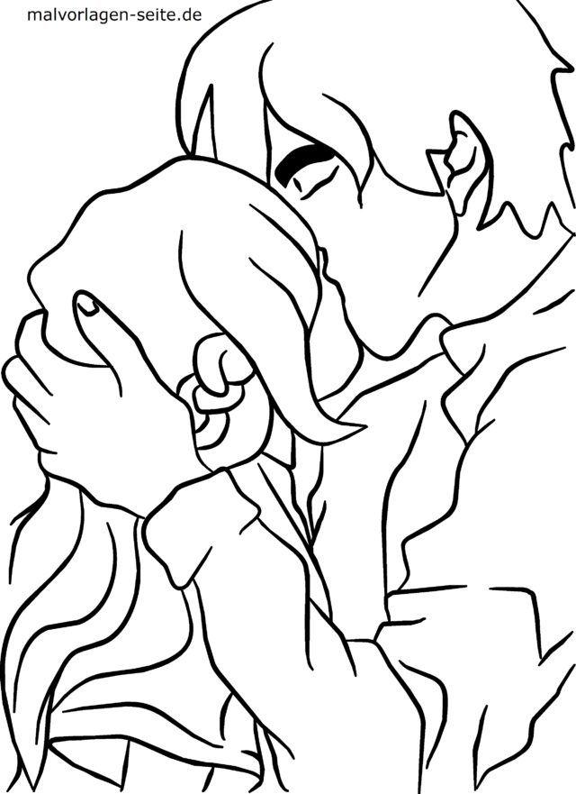 Malvorlage Manga - Kuss