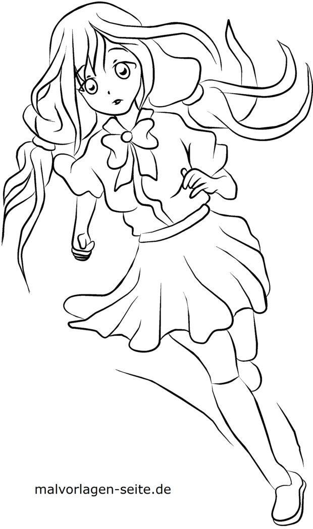 Coloring page manga - girl
