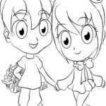 Coloring page Manga girl and boy