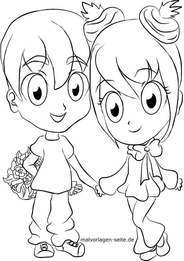 Malvorlage Manga - Mädchen und Junge