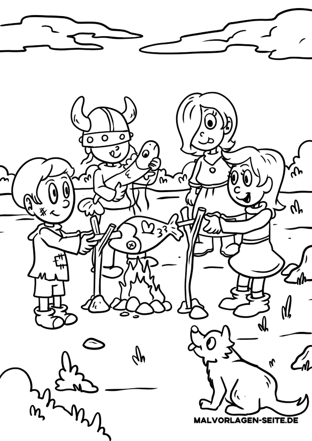 Coloring page Vikings children